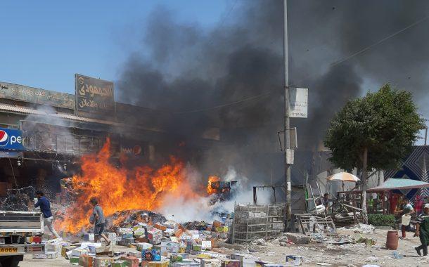 بالصور اشتعال حريق بسوق الحي السادس بمدينة ٦أكتوبر